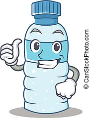 Thumbs up bottle character cartoon style