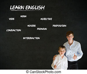 Thumbs up boy business man and teacher with learn English background
