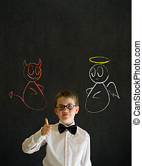 Thumbs up boy business man with chalk angel and devil on shoulder