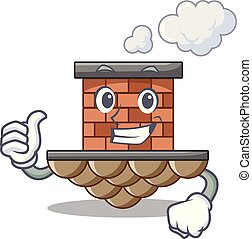 Thumbs up brick chimney isolated in the character