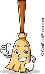 Thumbs up broom character cartoon style