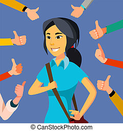Thumbs Up Business Woman Vector. Public Approval. Asian...