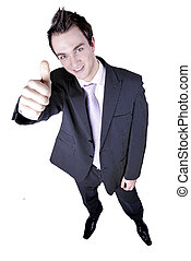 Businessman holds his hand and thumb up indicating successs, approval, satisfaction.