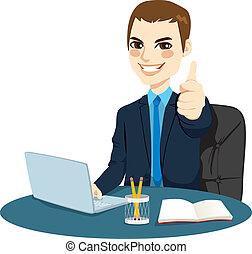 Thumbs Up Businessman - Successful businessman making thumbs...