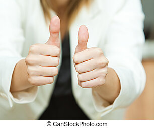 Thumbs up - Businesswoman thumbs up