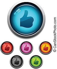 Thumbs-up button icon - Glossy thumbs-up like button icon ...