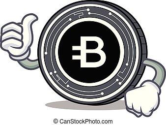 Thumbs up Bytecoin coin character cartoon