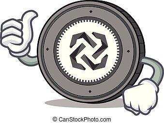 Thumbs up Bytom coin character cartoon