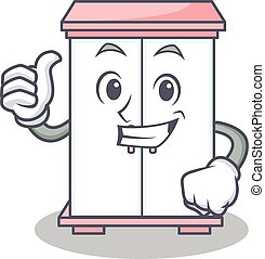 Thumbs up cabinet character cartoon style