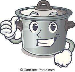 Thumbs up cartoon cookware stock pot in kitchen vector...