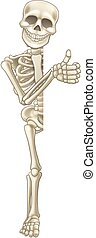 Thumbs Up Cartoon Halloween Sign Skeleton - A happy skeleton...