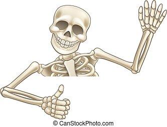 Thumbs Up Cartoon Halloween Skeleton - A skeleton Halloween...