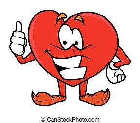 Thumbs Up - Cartoon Heart Vector