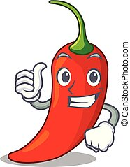 Thumbs up character red chili pepper for seasoning food