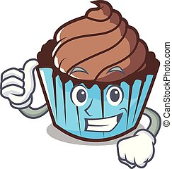 Thumbs up chocolate cupcake character cartoon