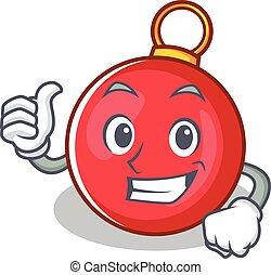 Thumbs up Christmas ball character cartoon