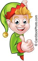 Thumbs Up Christmas Elf Cartoon Character