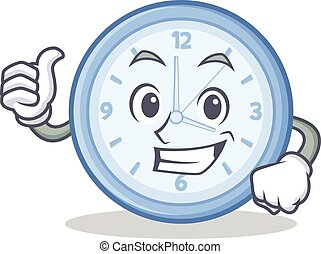 Thumbs up clock character cartoon style vector illustration