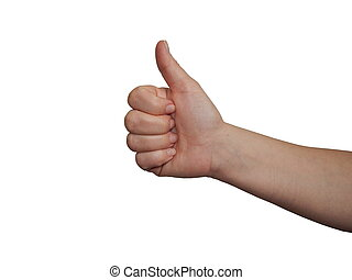 Thumbs up - close up on white women's hand with thumb up ...