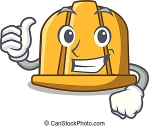 Thumbs up construction helmet character cartoon