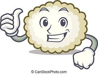 Thumbs up cotton ball character cartoon