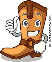 Thumbs up cowboy boots isolated in the mascot