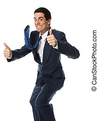 Thumbs up! - crazy businessman in blue suit doing the thumbs...