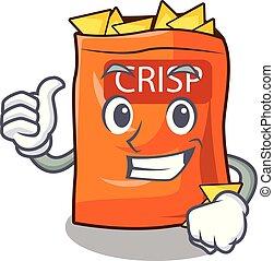 Thumbs up crispy potato chips in bowl cartoon