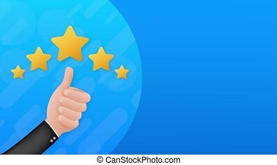 Thumbs up. Customer evaluation. Customer review rating. Stock illustration. Motion design