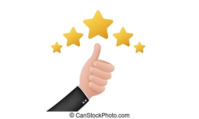 Thumbs up. Customer evaluation. Customer review rating. Stock illustration. Motion graphics