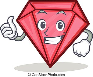 Thumbs up diamond character cartoon style