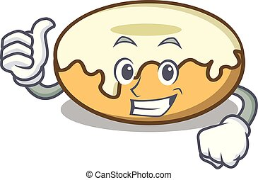 Thumbs up donut with sugar character cartoon