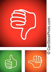 thumbs up down and undecided set