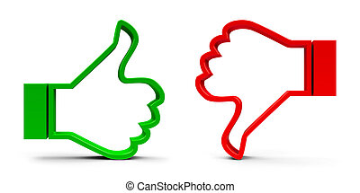 Thumbs up & down - Thumb up & thumb down icons isolated on...