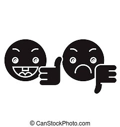 Thumbs up, down emoji black vector concept icon. Thumbs up, down emoji flat illustration, sign