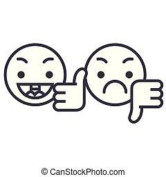 Thumbs Up, Down Emoji concept line editable vector, concept icon. Thumbs Up, Down Emoji concept linear emotion illustration