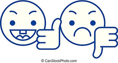 Thumbs up, down emoji line icon concept. Thumbs up, down emoji flat  vector symbol, sign, outline illustration.