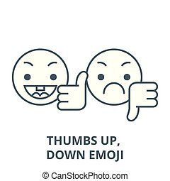 Thumbs up, down emoji vector line icon, linear concept, outline sign, symbol