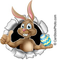 Thumbs Up Easter Bunny Rabbit Holding Egg