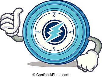 Thumbs up Electroneum coin chracter cartoon