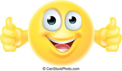 A cartoon emoji icon looking very happy with his thumbs up, he likes it