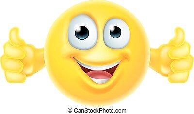 Thumbs up emoji smiley - A cartoon emoji icon looking very...