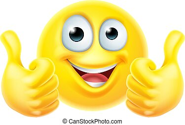 Thumbs Up Emoticon Emoji Face Cartoon Icon
