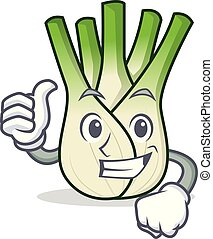 Thumbs up fennel character cartoon style vector illustration