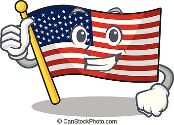 Thumbs up flag america with the mascot shape