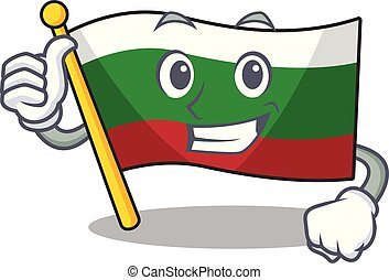 Thumbs up flag bulgarian isolated in the character