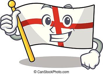Thumbs up flag england with the cartoon shape
