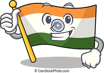 Thumbs up flag indian with the mascot shape