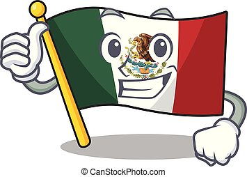 Thumbs up flag mexico character in mascot shaped