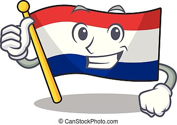Thumbs up flag netherlands with the mascot shape vector ...